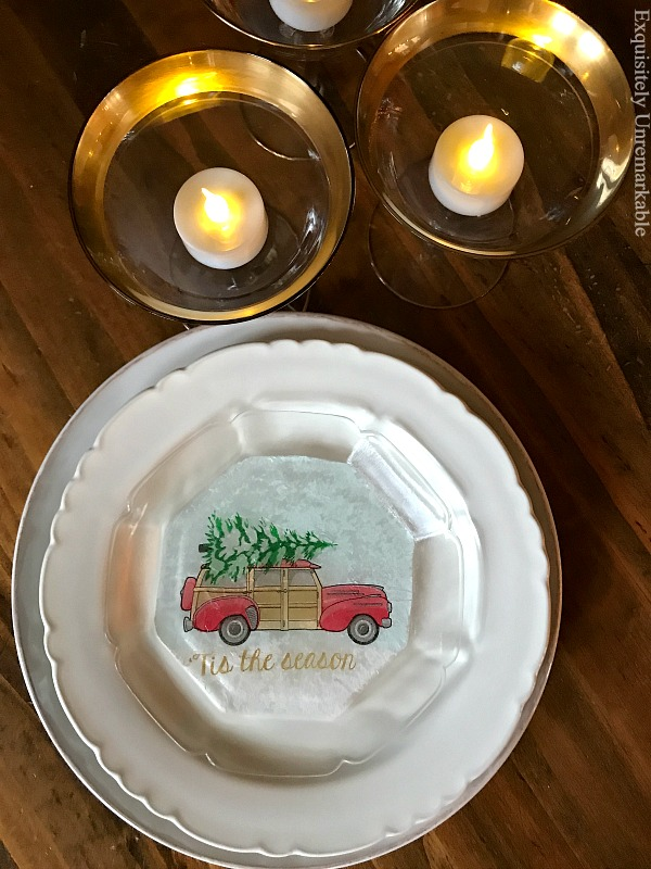 Glass Plate Red Christmas Truck Craft