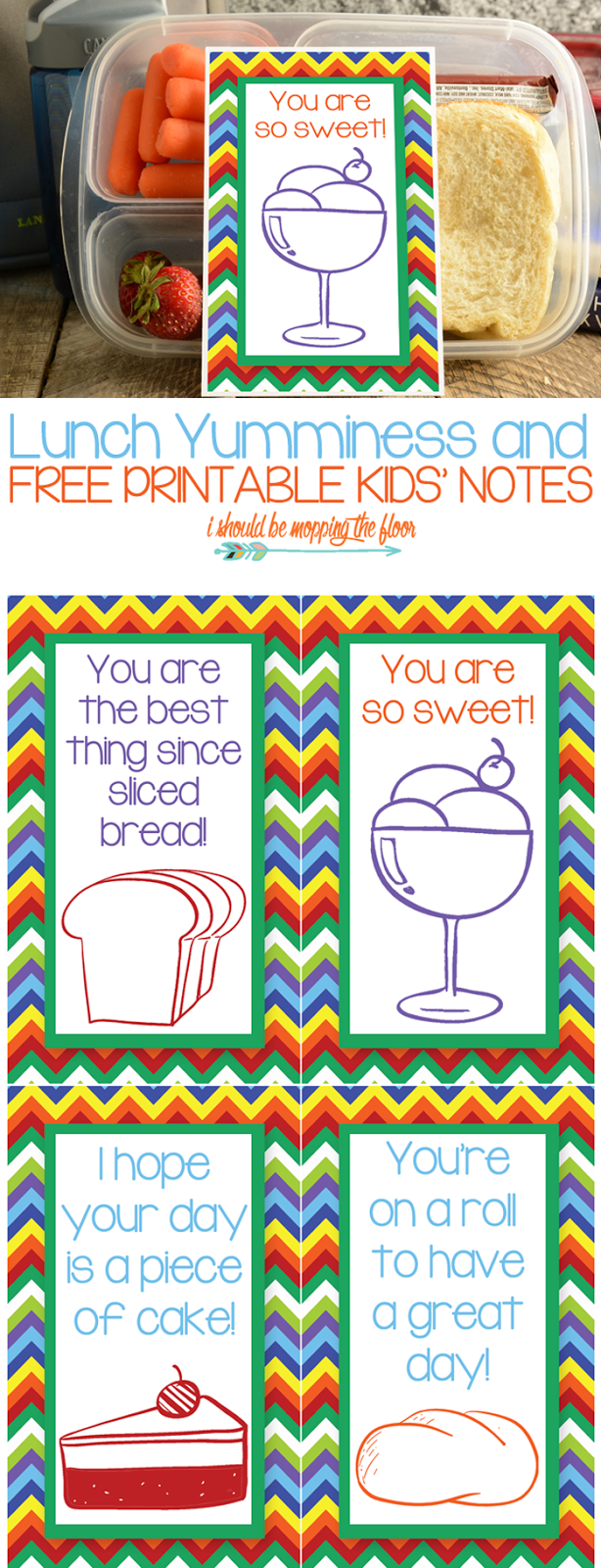Large Printable Lunch Notes: a larger size for littler hands and eyes to find easier! Perfect for your elementary or preschool kids' lunches.