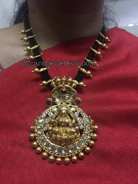 Black Thread Necklace Naga Lakshmi Pendant