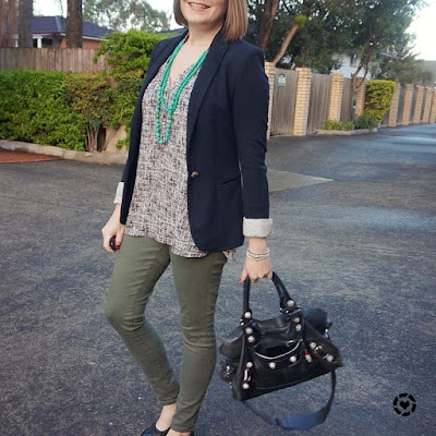 awayfromtheblue black blazer olive skinny jeans balenciaga part time bag autumn business casual