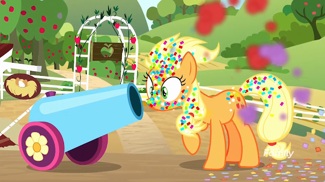Applejack covered in confetti from Pinkie's cannon after a misfired. On AJ's farm.