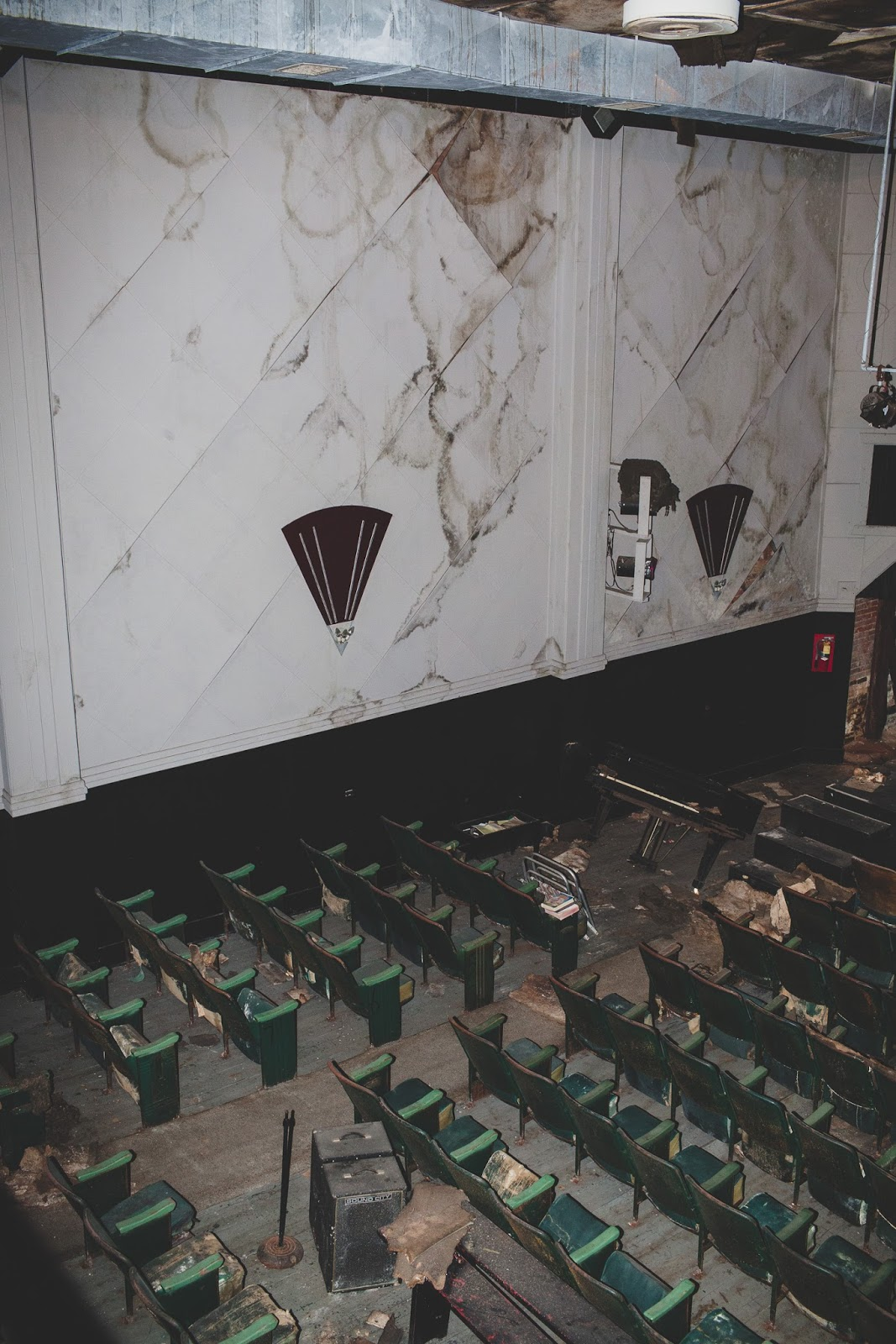 Bells Theatre with water damage. Help us revive our historic movie theatre! bit.ly/bellstheatre