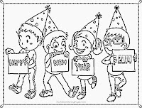 new year coloring pages for kindergarten