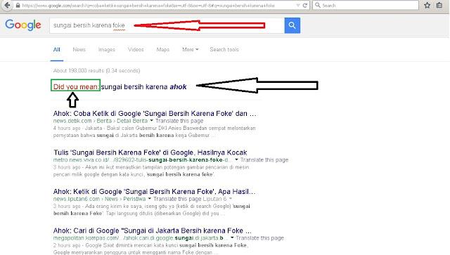 """Coba Ketik Di Google """"Sungai Bersih Karena Foke"""" Lihat Hasilnya"""