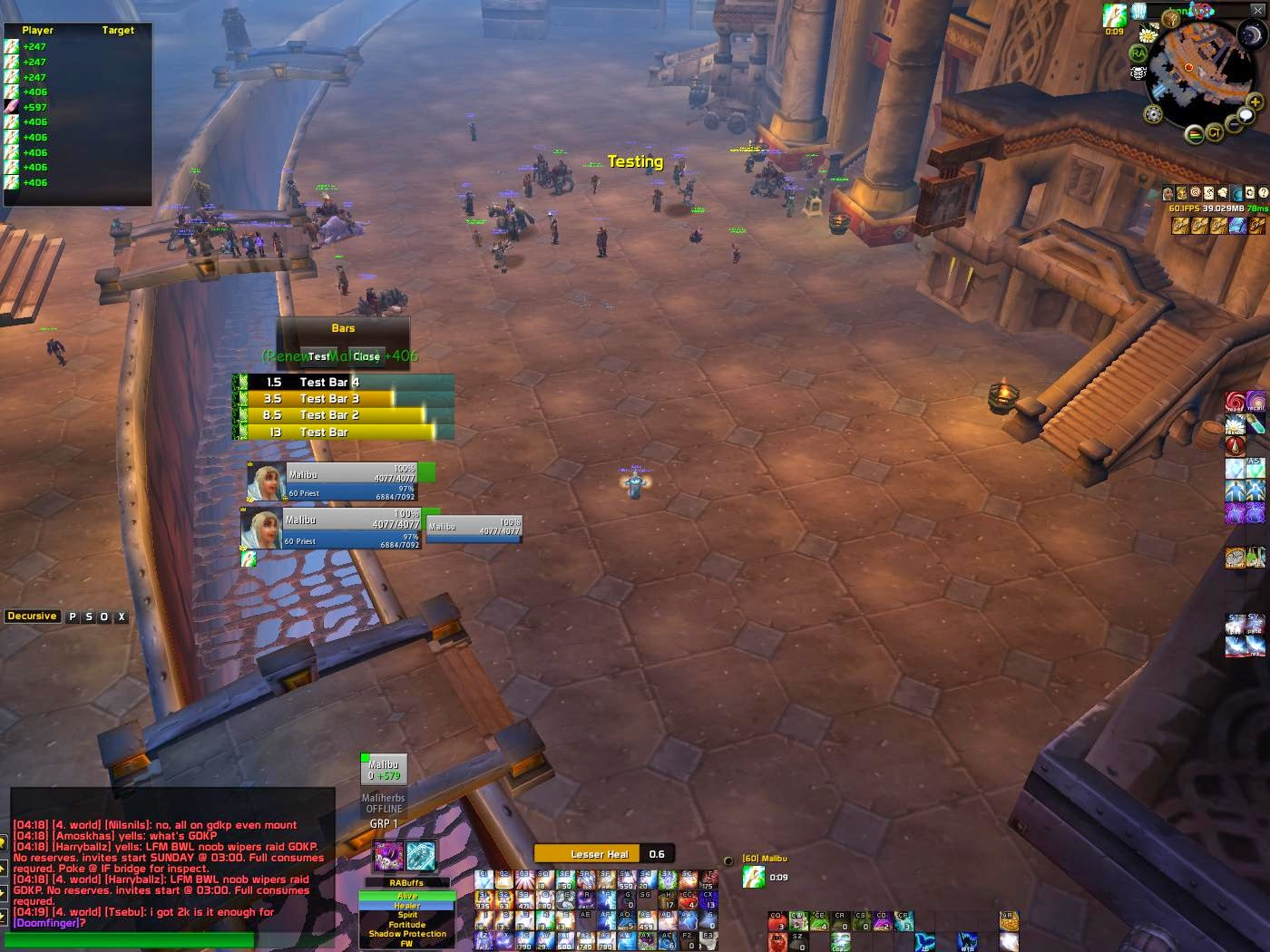 WoW Vanilla : Healing as a Priest: UI and Addons