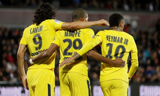 Kylian Mbappé, Neymar and Edinson Cavani