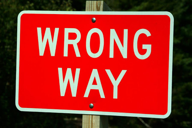 Image: Wrong Way Road Traffic Sign, by Ian Britton on FreeFoto.com