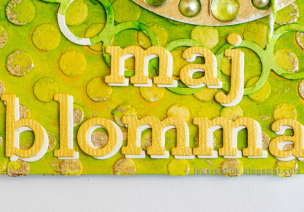 Layers of ink - Textured Green Background Tutorial by Anna-Karin Evaldsson. Add letters.