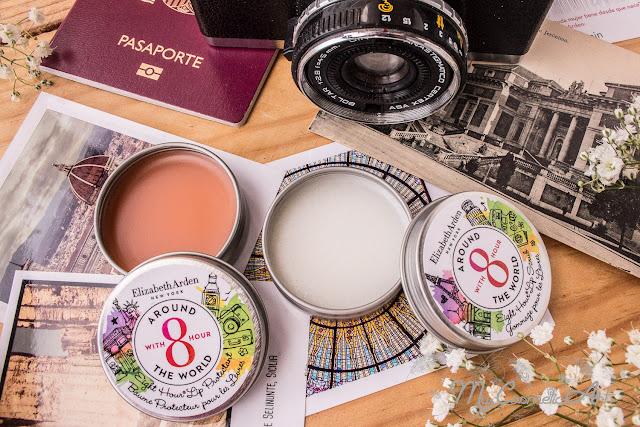 Edición Limitada de 8 Hour Arround the World de Elizabeth Arden: crema multiusos, bálsamos de labios y exfoliante de labios.