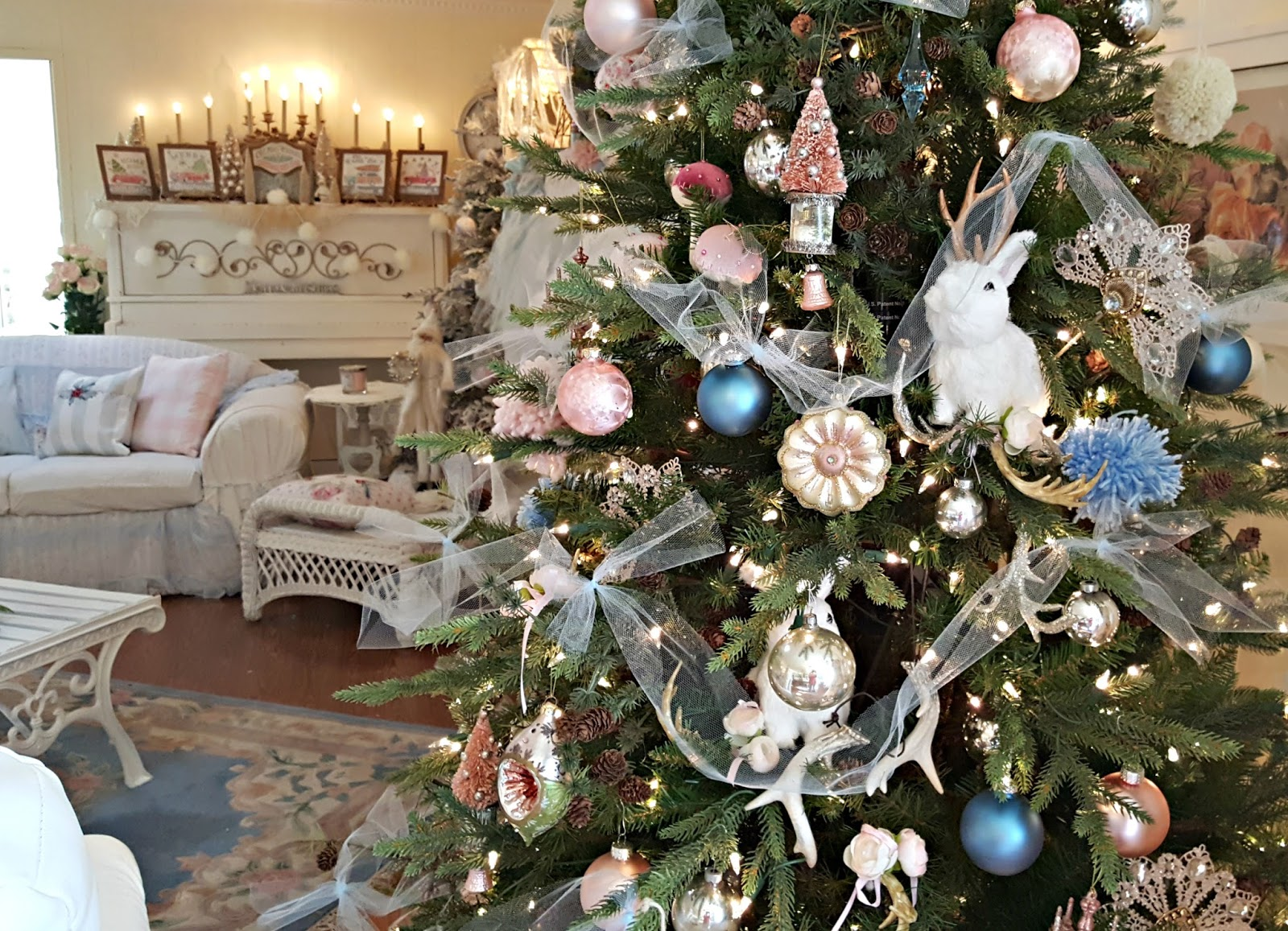 santa hat chair back covers hobby lobby ikea tables and chairs penny 39s vintage home pink blush pale blue christmas tree