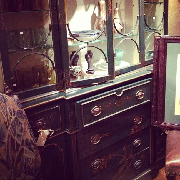 antique green hand painted china cabinet chest