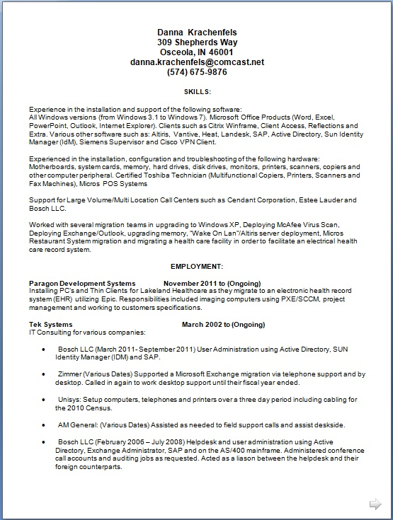 paragon development systems sample resume format in word