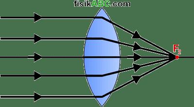 lensa cembung (konveks) bersifat konvergen atau mengumpulkan sinar
