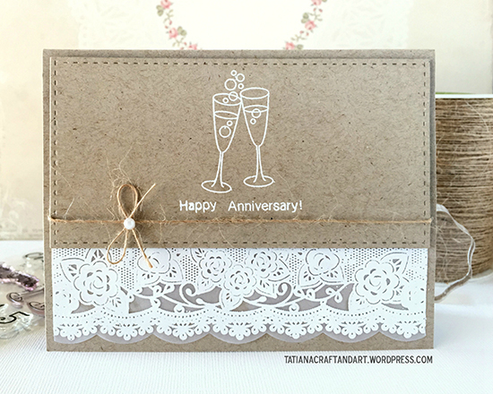 Lace and Kraft Anniversary card by Tatiana | Years of Cheers stamp set by Newton's Nook Designs #newtonsnook