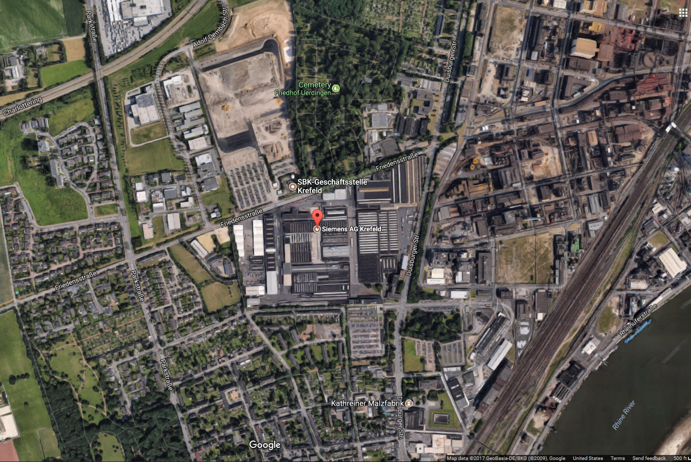 And The Siemens Plant In Krefeld In Densely Populated Westphalia Is A Half Hour By Commuter Rail And Bus From The Main Krefeld Train Station With Frequent