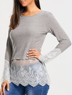 Lace Trim Insert Casual Knit Top - Gray