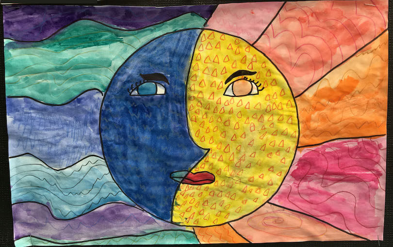 Spring Gallery Art:  Sun Moon paintings by Children