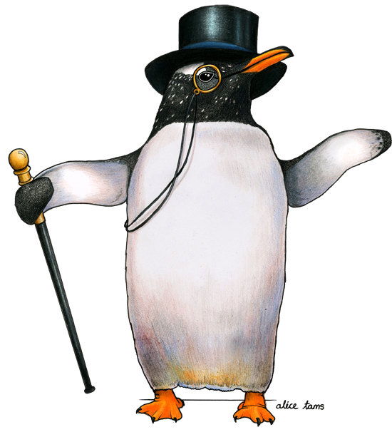 Birds in Hats penguin in a top hat