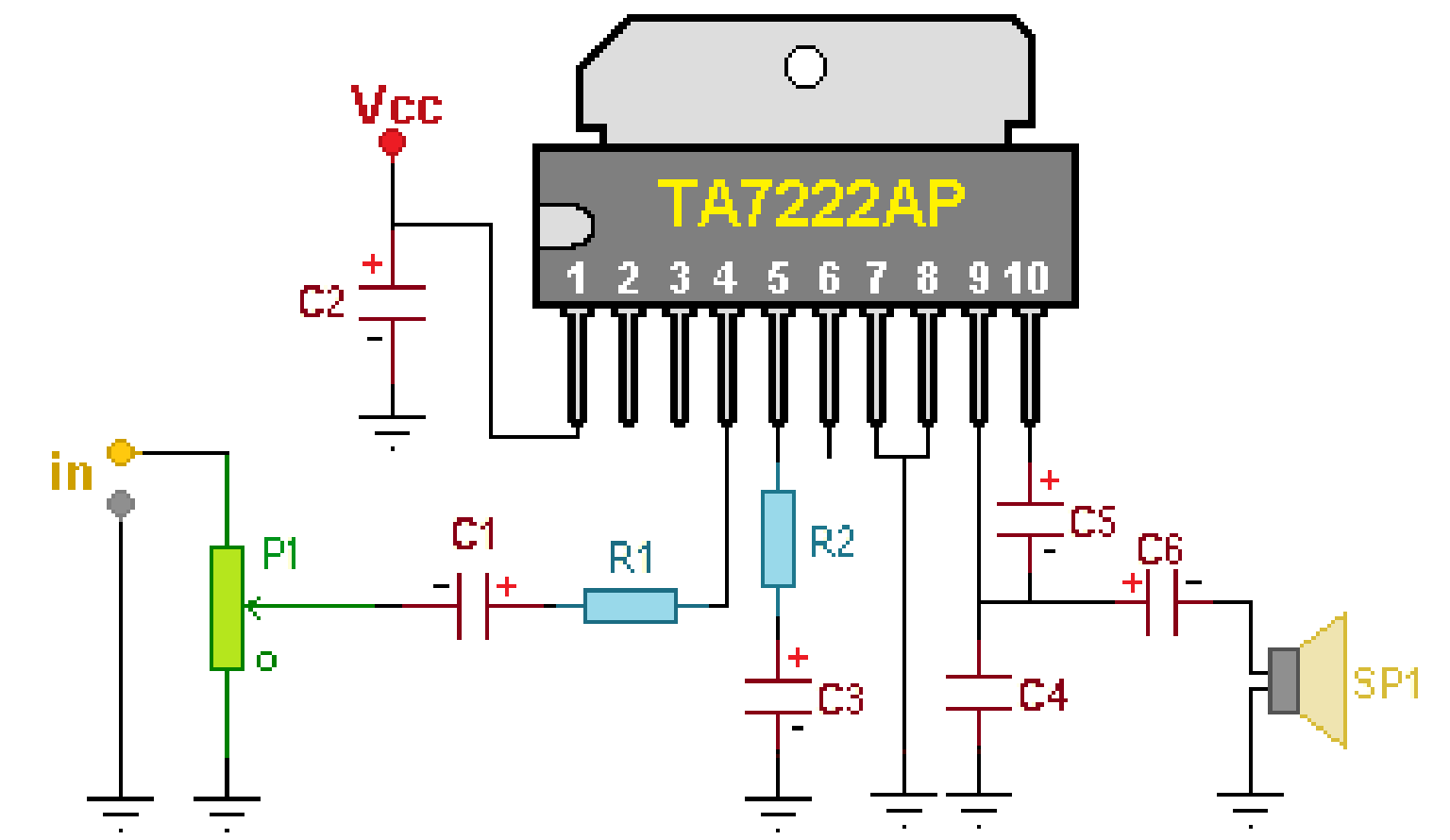 Audio Kit Circuits  Small 6watt Power Amplifier