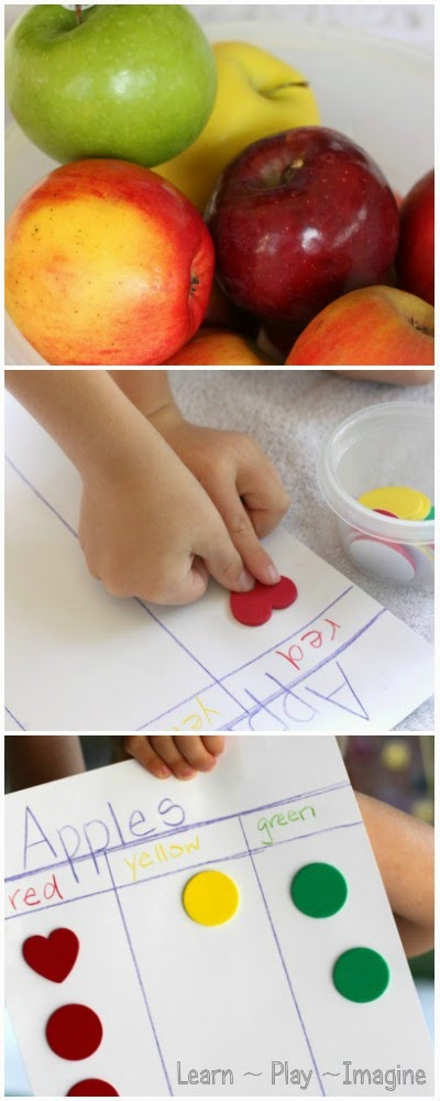 Set up an invitation to graph apples by color - fall hands on learning for preschool and kindergarten