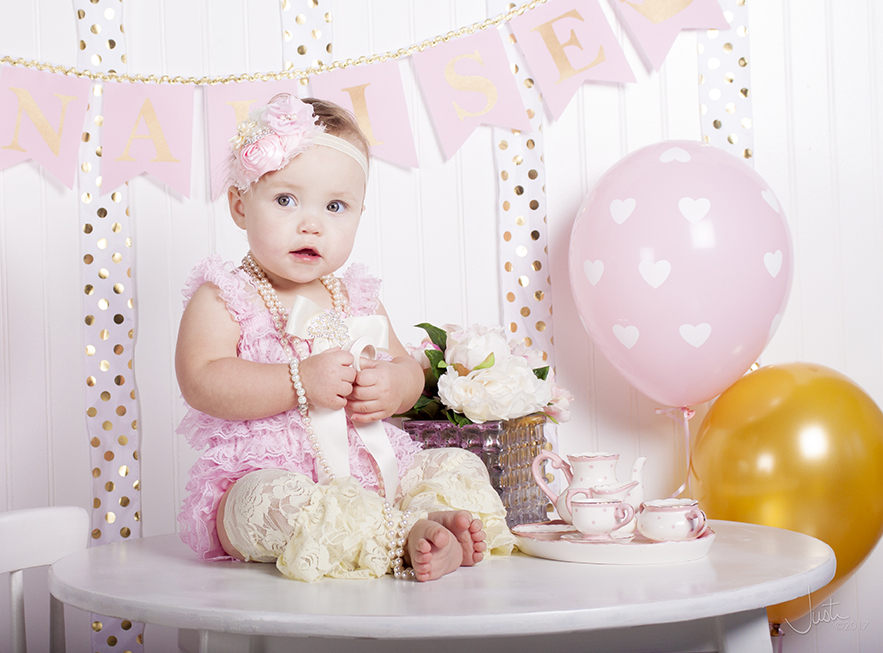 Cake Smash White Background With Tissue Paper Flowers