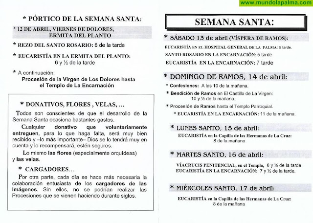 Programa actos religiosos Semana Santa 2019 de la Parroquia de La Encarnación y Santa Rita de Casia de Santa Cruz de La Palma