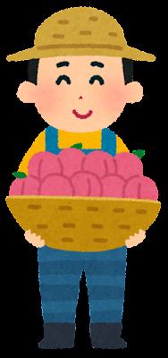 果物農家の人のイラスト(桃)