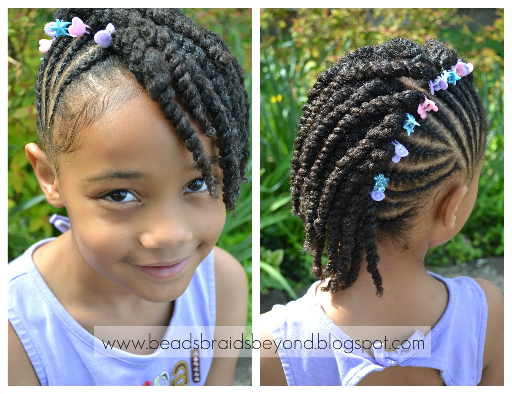 Braided Hair Styles For Little Girls: Beads, Braids And Beyond: Side Cornrows With Two Strand Twists