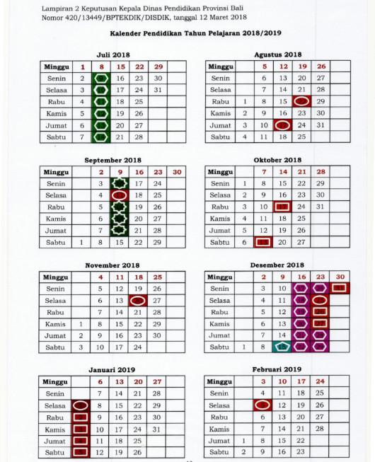 Kalender Pendidikan Provinsi Bali Tahun Pelajaran 2018/2019