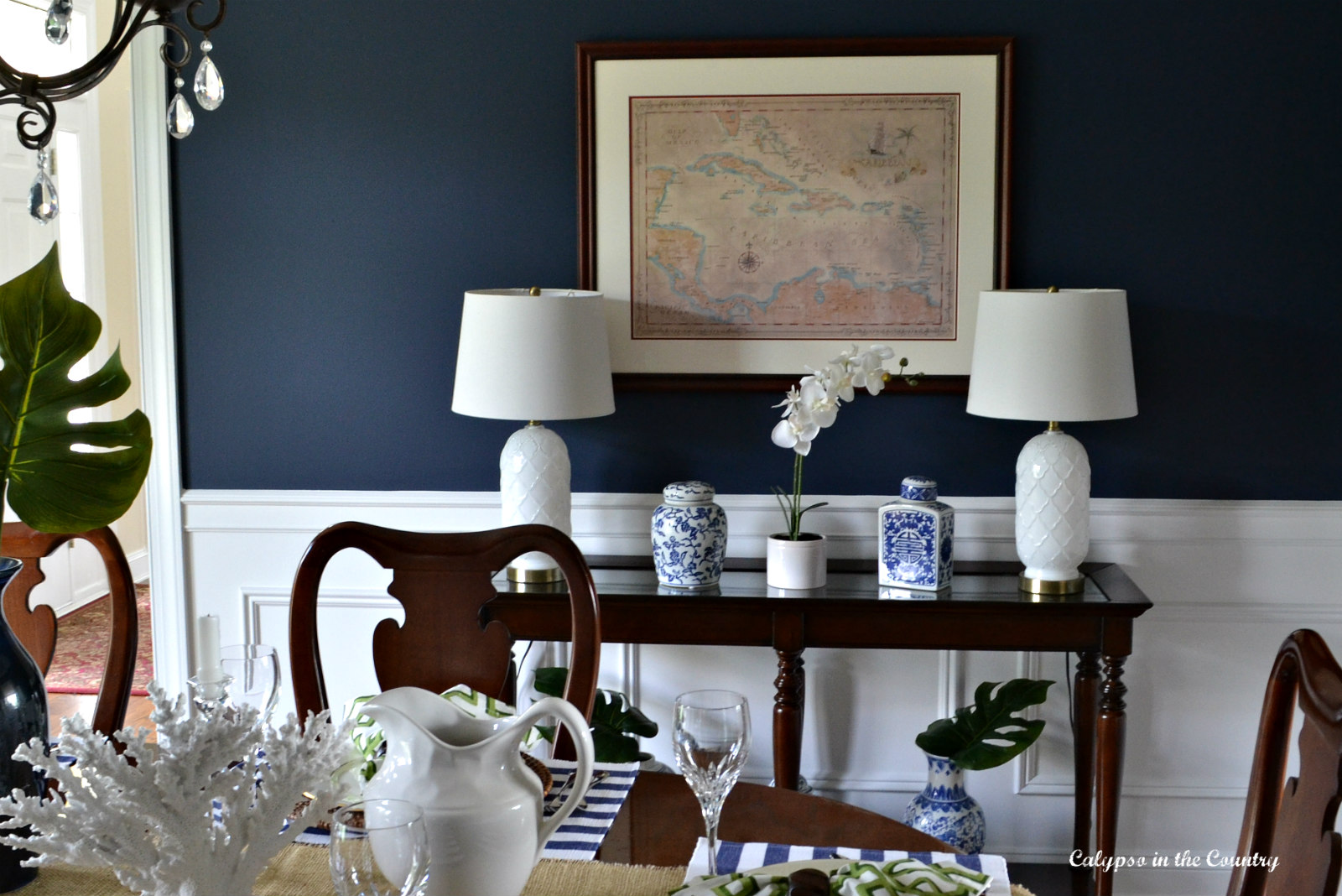Console Table with Lamps in Navy Dining Room