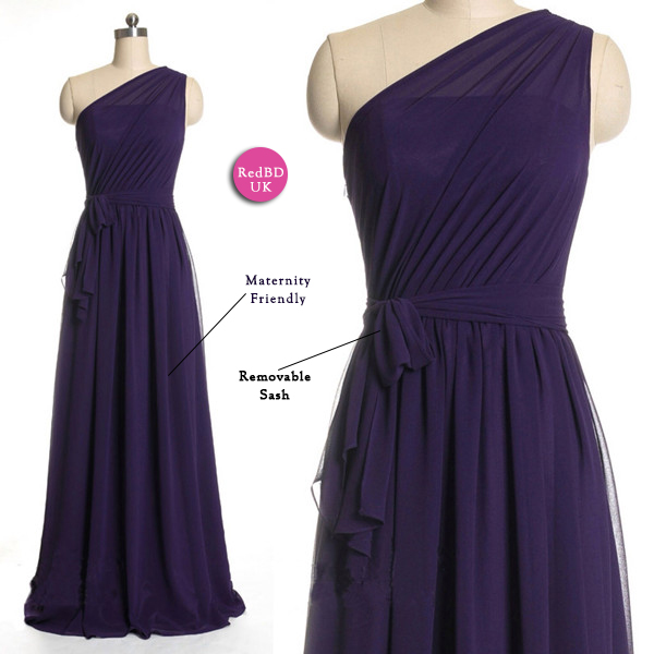 Chiffon One-shoulder Pleated Bodice Long Bridesmaid Dress with Waistband