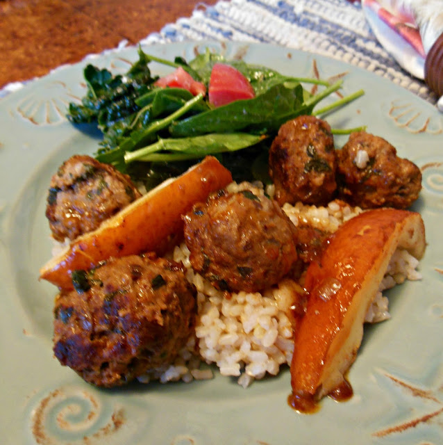 Savory Meatballs Glazed in Paprika Pear Sauce, delicious and easy enough for weeknights!