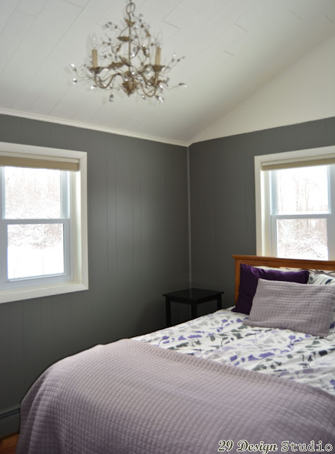 Master Bedroom Gray Painted Vertical Wood Paneling Vaulted White Ceiling