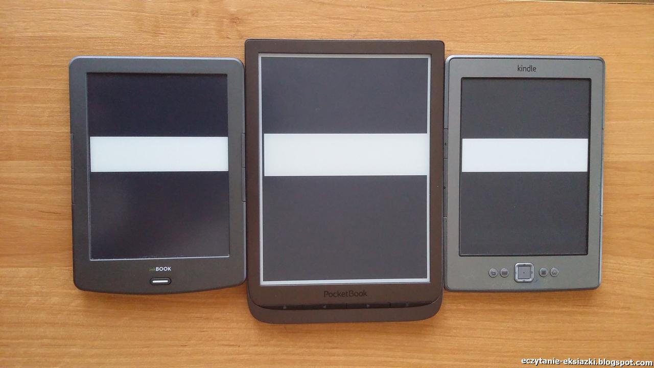 PocketBook InkPad 3, InkBook Classic-2 i Kindle-Classic - porównanie ekranów - nasycenie czerni