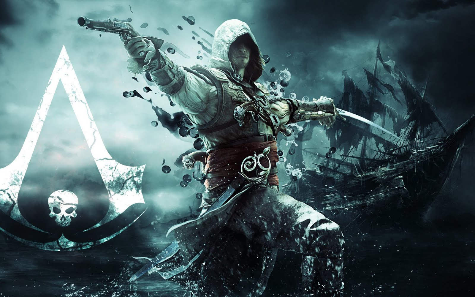 Assassins Creed IV Black Flag Assassin Pirate Edward Kenuey Gun Sword Ship 3840x2400