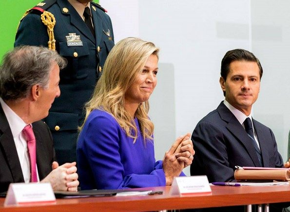 Queen Maxima met with Mexican President Enrique Pena Nieto. Maxima wore Roksanda Margot Crape dress and Gianvito Rossi suade pumps