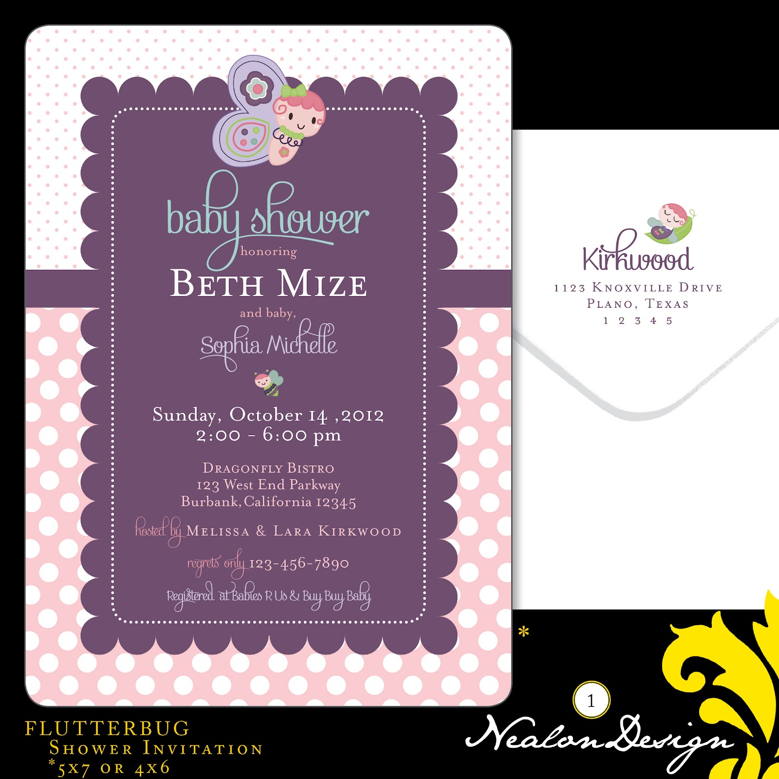 Nealon Design: Flutterbug BABY SHOWER Invitations