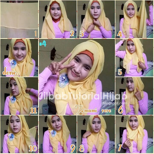 tutorial hijab segi empat untuk wajah bulat sederhana terbaru