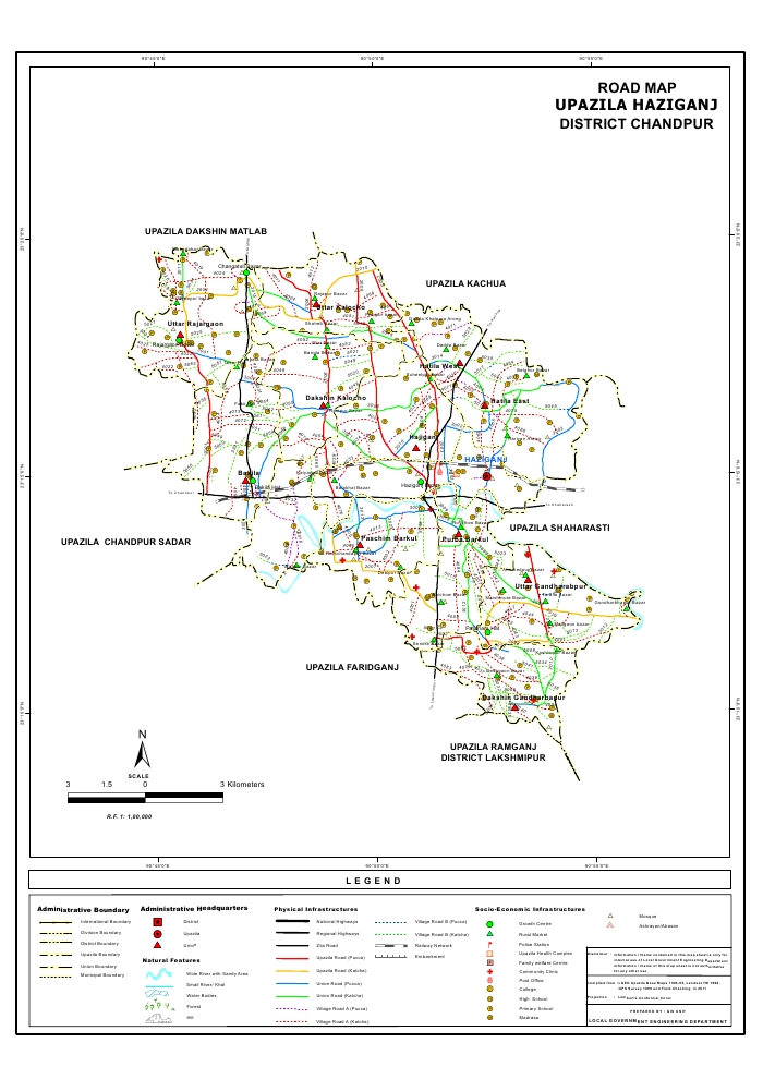 Haziganj Upazila Road Map Chandpur District Bangladesh