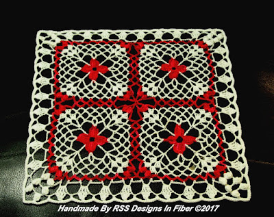 Red Flowers In White Lace Square - By Ruth Sandra Sperling at RSS Designs In Fiber
