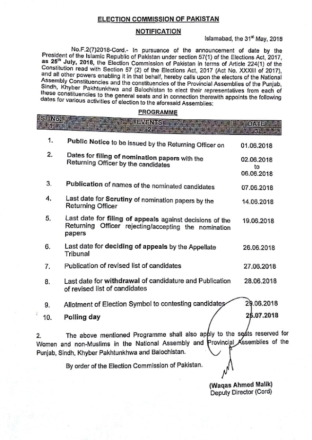 PROGRAMME / SCHEDULE OF NATIONAL ASSEMBLY AND PROVINCIAL ASSEMBLIES ELECTIONS