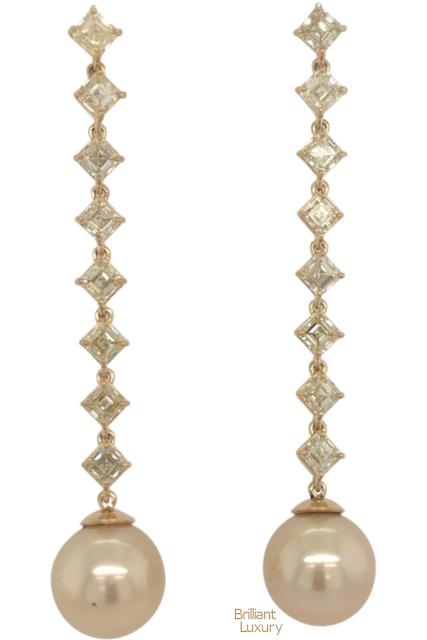Brilliant Luxury♦Fancy Light Yellow Diamond South Sea Drop Earrings 6.14 Carat VVS2-VS1 22 Karat