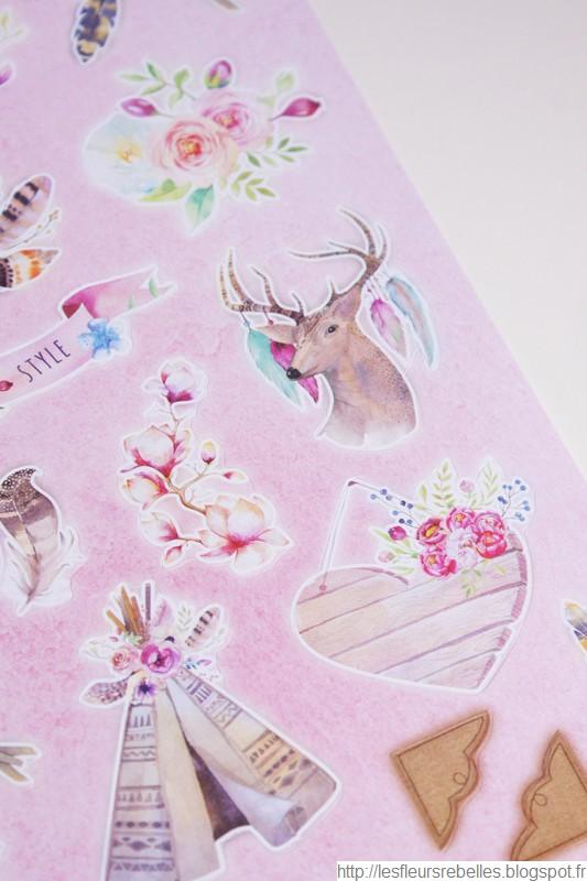 Blocs d'illustrations détails dessins roses scrapbooking