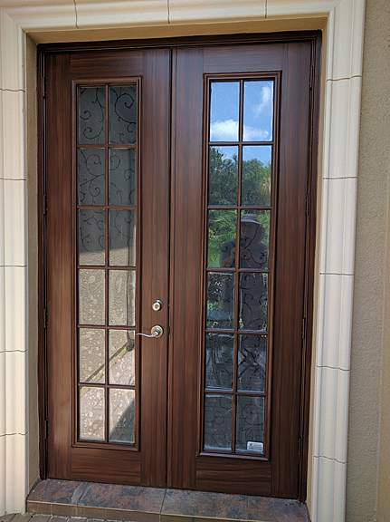 Entry doors and french doors painted to look like wood for Looking for french doors