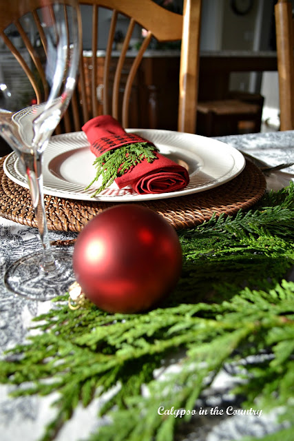 Red Ornament on Holiday Table