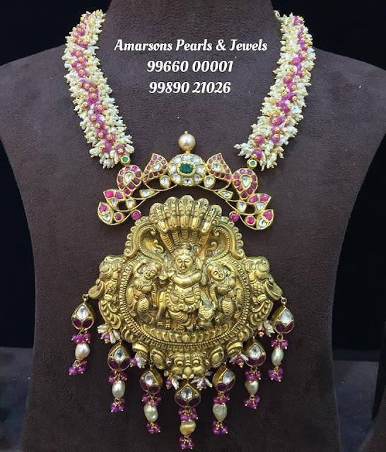 Adorable Krishna Pendant with Rice Pearls