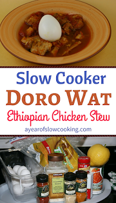 I've never had anything like this before! Doro Wat is an Ethiopian Chicken stew which is garnished at the end with a whole hardboiled egg to eat alongside. This cuts down on the heat from the cayenne pepper. This is naturally gluten free and can be cooked super easily in the crockpot slow cooker. What a fun idea and I love trying new things!!