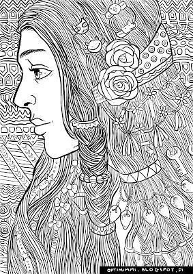 A coloring page of a lady with decorated hair / Värityskuva naisesta, jolla on koristeltu tukka