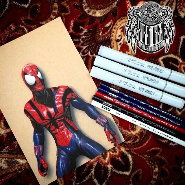 07-Spider-Man-Ramos-Ruben-xoramos661-Photo-Real-Comic-Book-Coloured-Drawings-www-designstack-co