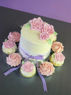 Rose Cake and Cupcakes